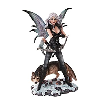 PTC 10 Inch Warrior Winged Fairy with Wolf and Bow Statue Figurine