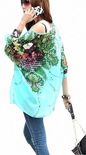 Landove Womens Batwing Sleeve Chiffon Bohemian Beach Semi Sheer Tunic Shirt Blouse