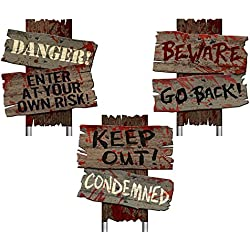 4E's Novelty Creepy Halloween Beware Yard Signs, Pack of 3 Spooky Warning Props for Horror Decorations Scene 12 x 9 Inches