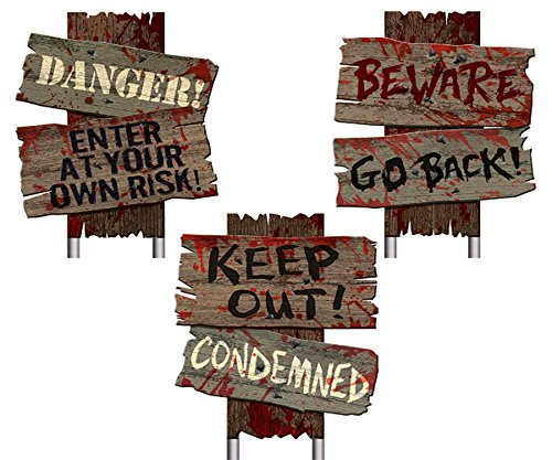 4E's Novelty Creepy Scary Halloween Cemetery Decoration Yard Signs, Pack of 3 Spooky Warning Props for Bloody Horror Decorations Scene, Plastic & Wooden Color, 12