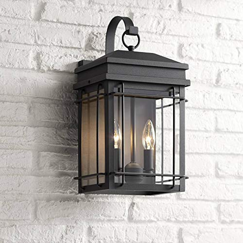 (Rotherfield Outdoor Wall Light Fixture Textured Black Steel 17