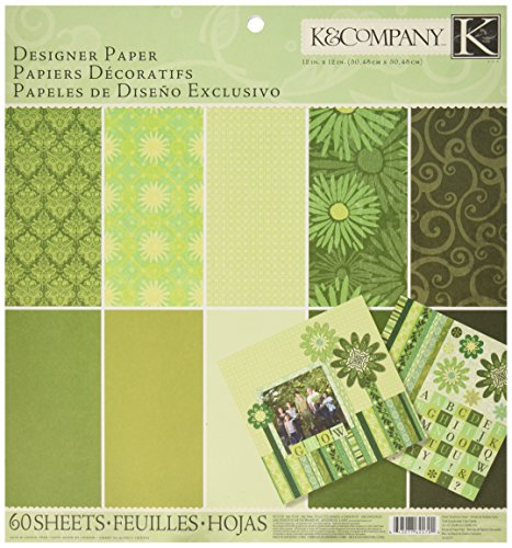 K&Company Sheer Simplicity Designer Paper Pad, 12-Inch x 12-Inch, 60 Sheets, Green