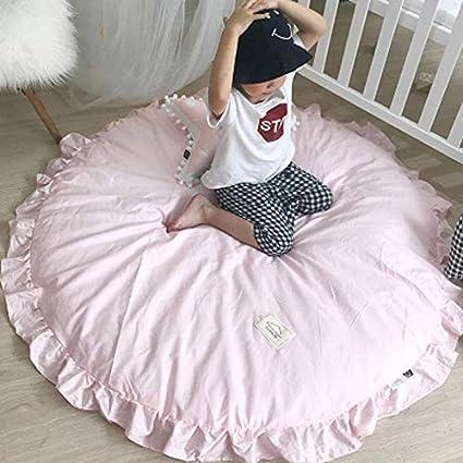 Tapis Rose Chambre Fille Rond Tapis Jeu Bébé épais Coton ...