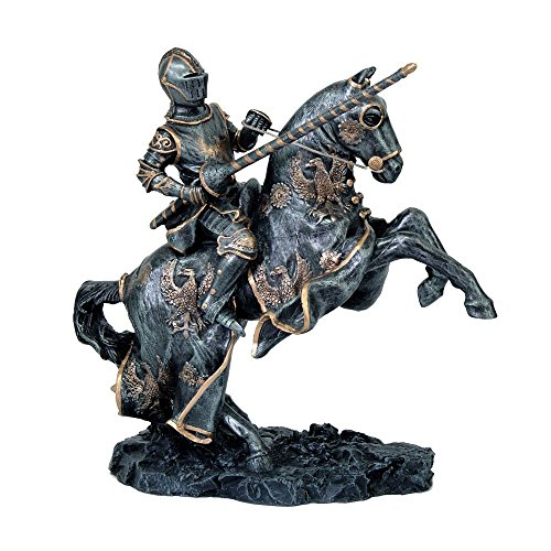 Medieval Fantasy Calvary Knight on Rearing Horse Ready for Jousting Pewter Gray Finish with Gold Accent Collectible Figurine