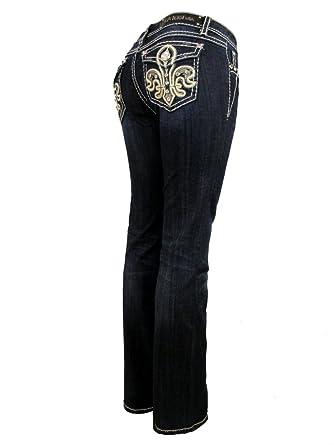 b92d7b6778e LA Idol – Women Plus Size Jeans Crystal Leather Fleur De Lis Flap Bootcut  Stretch in