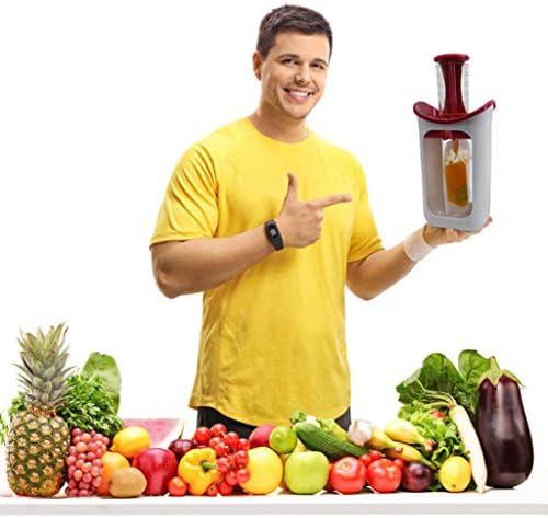 Oyrcvweuy - Exprimidor manual de prensa, exprimidor de cítricos de limón, hecho en casa para bebés, zumo de fruta para bebés, puré de alimentos con 10 bolsas de almacenamiento