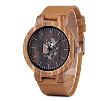 BOBO BIRD Wooden Watches for Men Casual Watch Black Cowhide Leather Strap with Wooden Box Father's Day