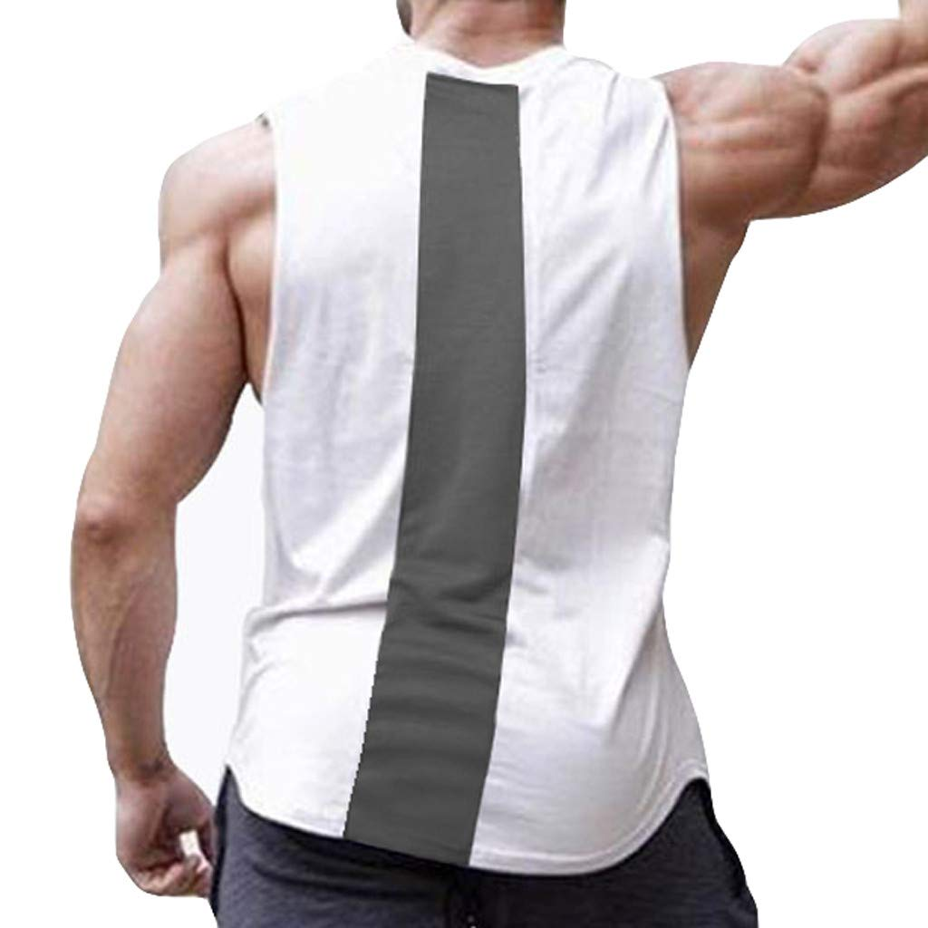 Pervobs Men Solid Slim Fit Active Sports Tops Vest Summer Short Sleeve Crew Neck T-Shirt Tee Top Blouse Vest Tank(2XL, White) by Pervobs Mens T-Shirts (Image #3)