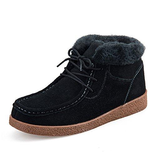 Ankle Winter Flat Snow Suede Lace Sneaker Black Plus Platform Up Boots Cotton Women Barerun Velvet Shoes 6q78En