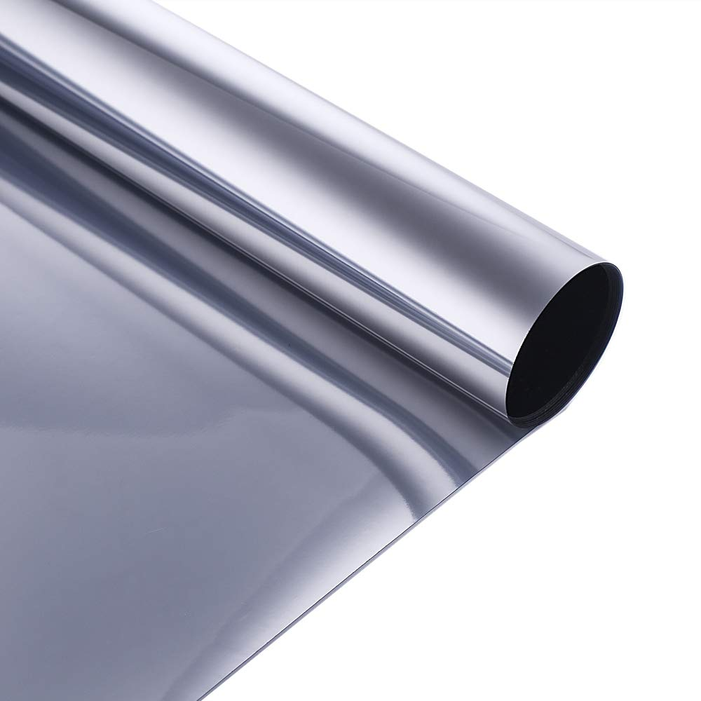 Velimax One Way Mirror Film Reflective Solar Film Static Cling Window Film Heat Rejection Glass Tint for Home Office Anti UV, Silver 23.6'' x 78.7''
