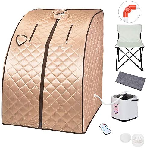 ZeHuoGe Portable Steam Sauna Kit SPA Detox 9-Level Temperature Adjustment 6-Level Time Setting 2L Steamer Digital Display Remote 220LBS Capacity of Chair US Delivery Champagne Gold