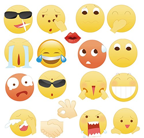 Emoji Photo Booth Props for All Kinds of Parties By Garloy,18 Pcs Emoji Faces Party Supplies in Big Size As Masks, Assorted(Need - Face Sunglasses How For Size To