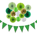 Saint Patrick's Day Party Decorations Kit Paper Honeycomb Fans Green Dot Banner for Birthday Home Event Party Supplies 15 Pieces SUNBEAUTY