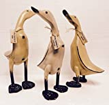Homestyles Wooden Vintage Hand Crafted Duck 3 Piece Duck Set Carved Bamboo Root Figurine Set with Whimsical Name Tags 13''h