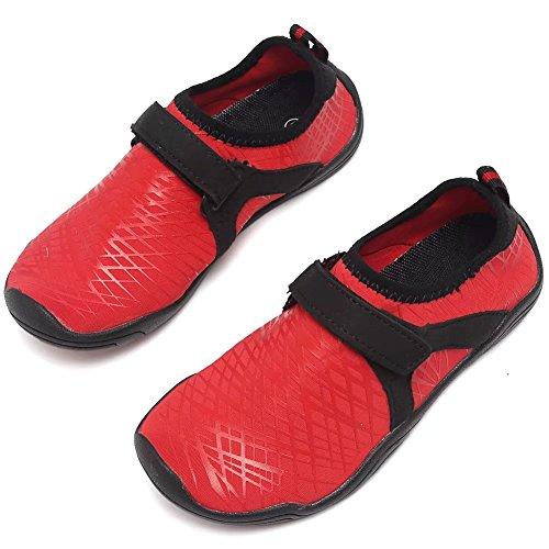 CIOR Fantiny Boys & Girls Water Shoes Lightweight Comfort Sole Easy Walking Athletic Slip on Aqua Sock(Toddler/Little Kid/Big Kid) K.red Fmgm4mU8Ml