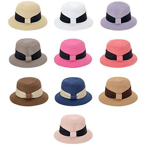 Lanzom Women Wide Brim Straw Foldable Roll up Cap Fedora Beach Sun Hat UPF50+ (White) by Lanzom (Image #2)