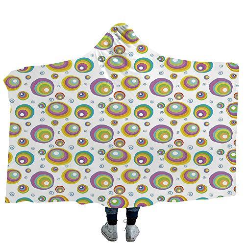 MASCULINTY Throws Blanket Halloween Super Soft Warm Comfy Large Fleece Floral Swirls with Dots Little Bats Open Wings and Pumpkins Seasonal Pattern (Kids 50