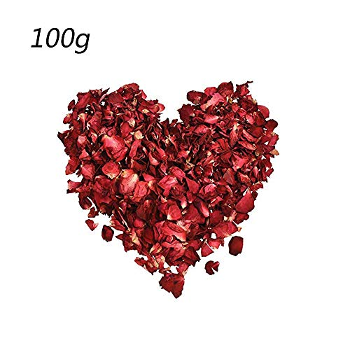 (CHDHALTD 100 Gram Dried Red Rose Petals, Real Rose Flower Petals for Wedding Party Decoration Wedding Table Confetti Pot Petal Flower Bath, Foot wash,Romantic Night Bath Salts)