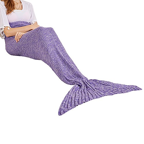 Yeahbeer Handmade Scales Pattern Warm and Soft Mermaid Tail Blanket for Adult (71-Inch-by-32-Inch), Shark tail Purple