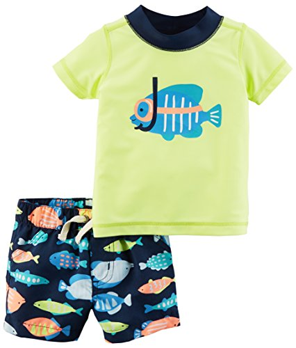 Carter's Boys' Rashguard Swim Set, Yellow Fish, 9 Months ()