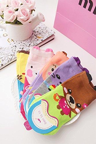 Generic [5] Korean Duo Pack perspective cartoon animals cotton socks Ms. by Generic