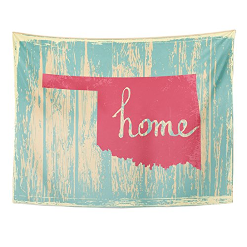 Emvency Tapestry Americana Oklahoma Nostalgic Rustic Vintage State Sign Proud America Home Decor Wall Hanging for Living Room Bedroom Dorm 60x80 Inches