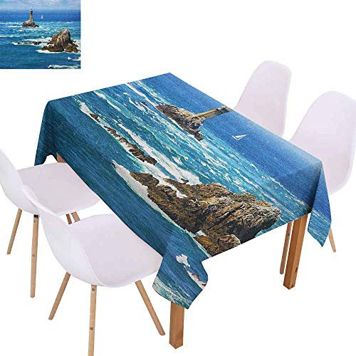 Marilec Stain-Resistant Tablecloth Lighthouse Daytime Lighthouse Wavy Ocean View and Clear Sky Rocky Islands Sailboat Picnic W54 xL84 Blue Gray White