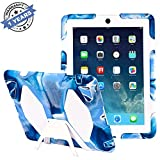 iPad Cases,iPad 2 Case,iPad 3 Case,iPad 4 Case,TRAVELLOR [Heavy Duty] iPad Case and Full Body Protective Case Cover With Kickstand And Screen Protector for iPad 2/3/4 - Navy Blue/White
