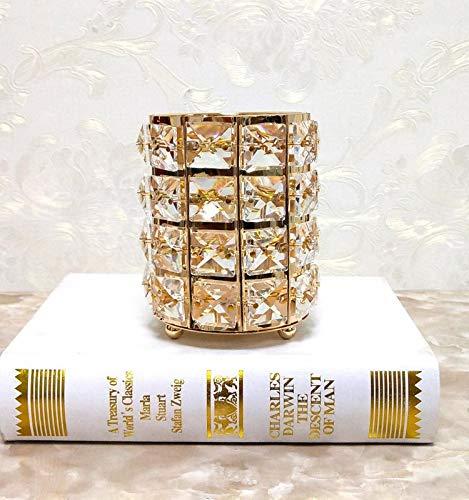 Crystal Makeup Brushes Holder European Makeup Brush Organizer Holder Gold Crystal Cosmetic Storage Pot Desk Pen Holder Desktable Decor Home Office Storage Box ()