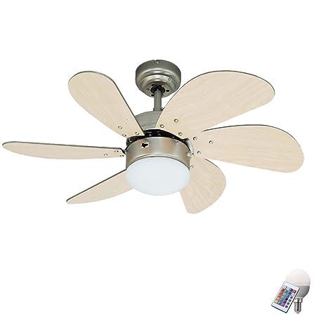LED Ventilatore a soffitto stanza sonno VENTOLA RADIATORE Vetro Illuminazione Interruttore