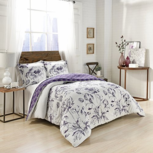 - Marble Hill Jasmeen Comforter Set, King, Purple