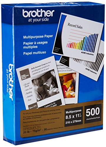 "Brother BP60MPLTR 500-Pack 8.5"" x 11"" Multipurpose Paper White"