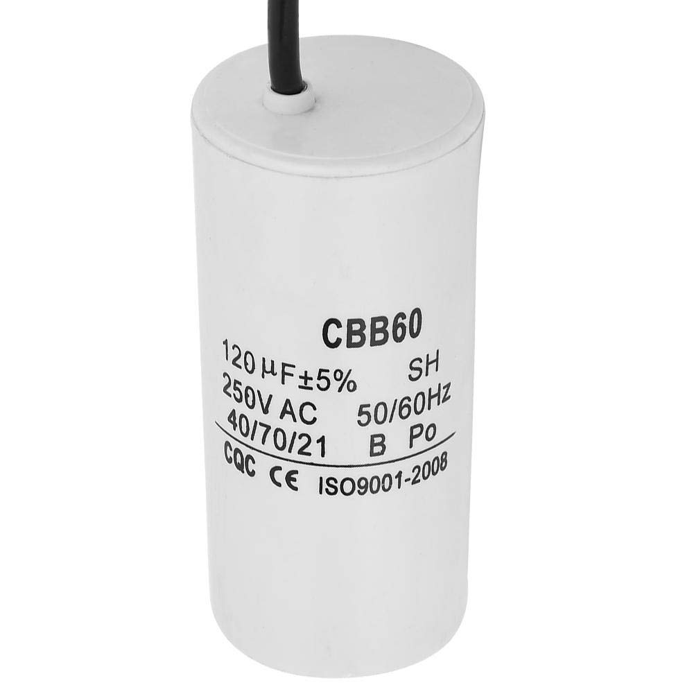 CBB60 Run Capacitor,with Wire Lead 250VAC 120uF 50//60Hz Capacitor for Motor Air Compressor