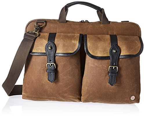 Token Bags Waxed Knickerbocker Laptop Bag 15 Inch, Tan/Black, One Size by Token Bags