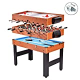 Eight24hours 48' 3-In-1 Multi Combo Game Table Foosball Soccer Billiards Pool Hockey For Kids
