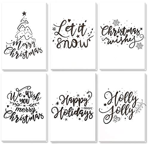 (48-Pack Merry Christmas Greeting Cards Bulk Box Set - Winter Holiday Xmas Greeting Cards with Artistic Word Art Design, Envelopes Included, 4 x 6 Inches)