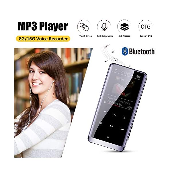 Bluetooth Mp3 Player Touch Mp 4hifi Lossless Sound Quality 5D Sound Effect PCM Recording Hyperboloid Glass Screen 16G, Black,Black 4