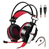 KOTION EACH GS700 3.5mm Gaming Game Headset Headphone Earphone Headband with Mic Stereo Bass LED Light for PS4 PC Computer Laptop Mobile Phones (Red)