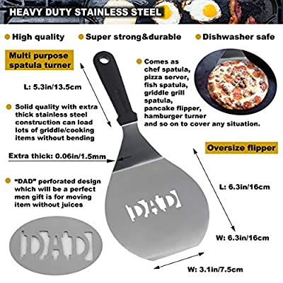 """ROMANTICIST 8pc Griddle Accessories with 7"""" Extra Long Deluxe Wood Handle - Premium Griddle Spatula Set in Carrying Bag for Flat Top Grill Hibachi - Perfect Grill Gift for Men Women on Birthday"""