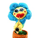 LEEKA Musical Singing and Dancing Sunflower with Saxophone Funny Soft Plush Electric Toy Gift For Baby,Children, Kids and Adults (Bluetooth Blue Rounded)