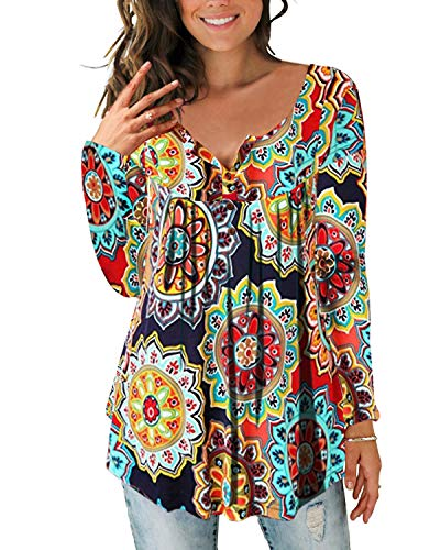 Women's Paisley Printed Button Top Long Sleeve V Neck Pleated Casual Flare Tunic Loose Blouse Shirt 5602Orange-XL