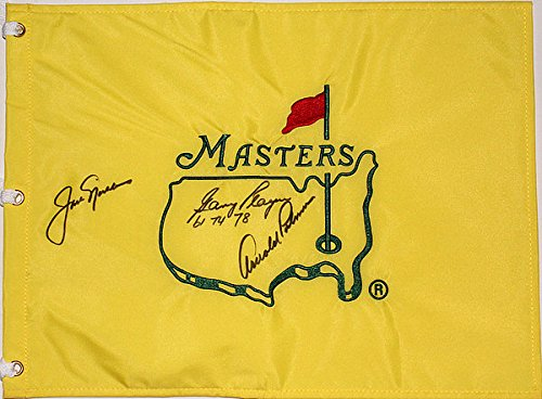 Arnold Palmer, Jack Nicklaus & Gary Player Autographed Signed Masters Pin Flag