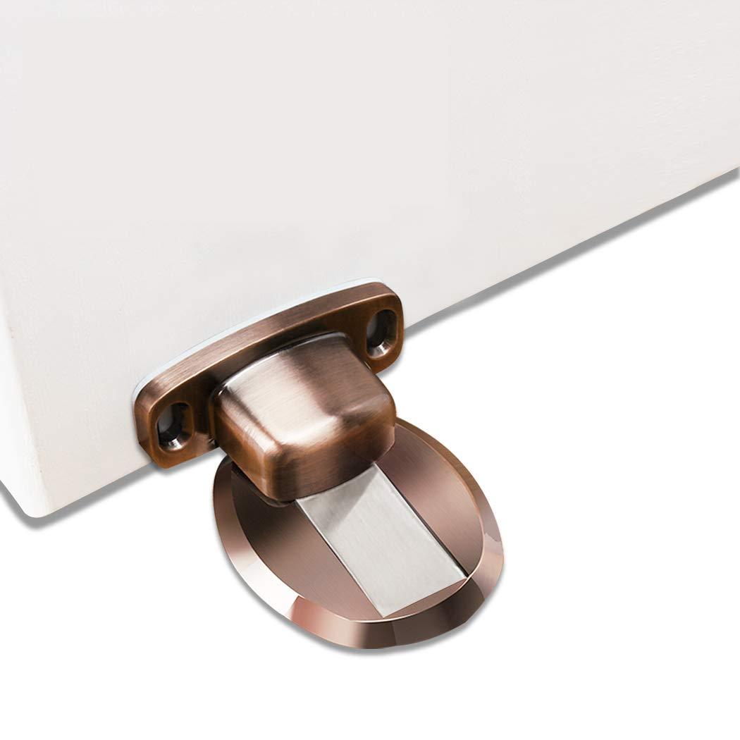 FLYDEER Door Stopper Heavy Duty Magnetic Door Catch Metal Door Holder Stop Magnet with 3M Self Adhesive and Concealed Screws for Home Office Door (Red Bronze)