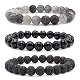 Bivei Natural Lava Rock Stone Agate Onyx Grey Quartz Semi Precious Gemstone Round Beads Healing Crystal Stretch Bracelet