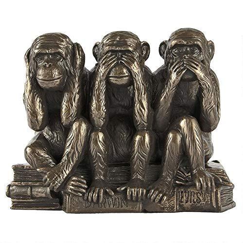 - Design Toscano Hear-No, See-No, Speak-No Evil Monkeys Animal Statue Three Truths of Man Figurine, 7 Inch, Polyresin, Bronze Finish (Renewed)