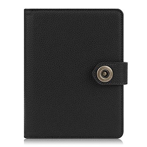Black Leather Passport Case - Fintie Passport Holder Cover Case, Premium Vegan Leather RFID Blocking Travel Wallet with Snap Closure, Black