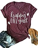 Thanksgiving Happy Fall Y'all V Neck T Shirts Womens Funny Pumpkin Spice Short Sleeve Tops Blosue Size XL (Red)
