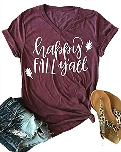 Old Woman Happy Halloween (Thanksgiving Happy Fall Y'all V Neck T Shirts Womens Funny Pumpkin Spice Short Sleeve Tops Blosue Size M)
