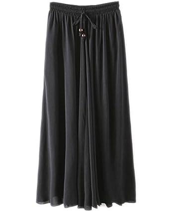 Kasen Falda Larga Mujer Cintura Larga Camiseta Maxi Faldas Negro ...