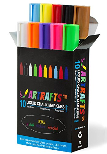 Liquid Chalk Markers 10 Vivid Colors By Artrafts™ - Reversible Chisel to Bullet Point Tips + 16 FREE Chalkboard Stickers - Use on Glass, Metal, Containers, Menu Boards, Non-Porous Surface
